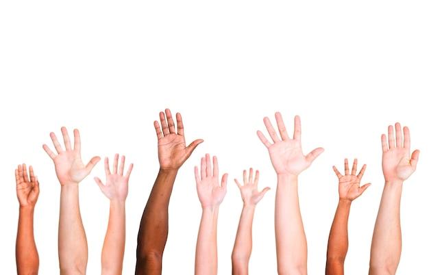 Groupe diversifié de mains levées Photo gratuit