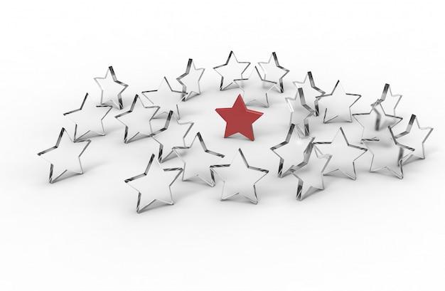Groupe d'étoiles isolées. concept de leader. rendu 3d. Photo Premium