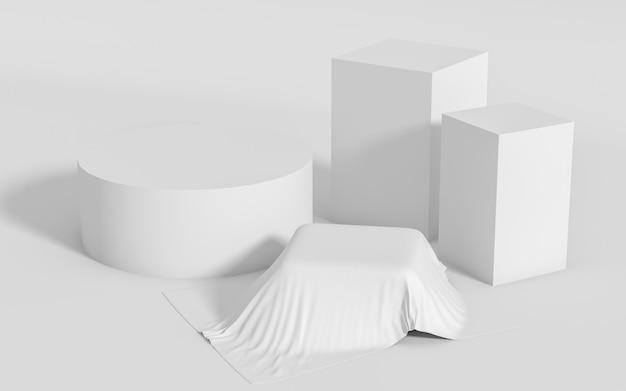 Groupe de formes géométriques abstraites mis en scène minimale, rendu 3d Photo Premium