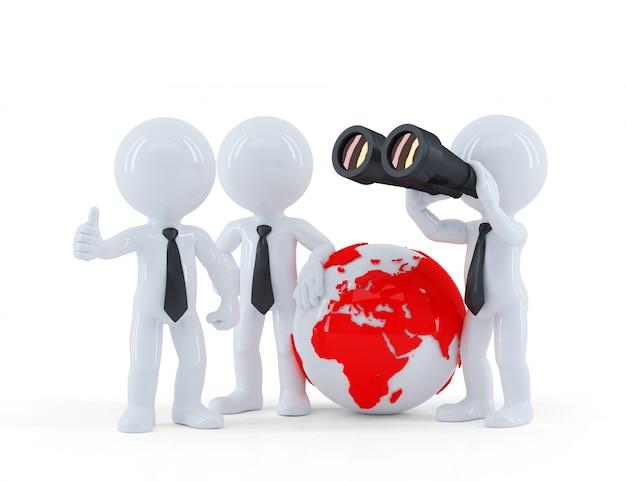 Groupe De Gens D'affaires Avec Globe Et Jumelles. Photo Premium