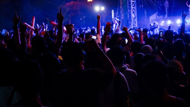 Groupe de personnes s'amusant au concert de musique Photo Premium