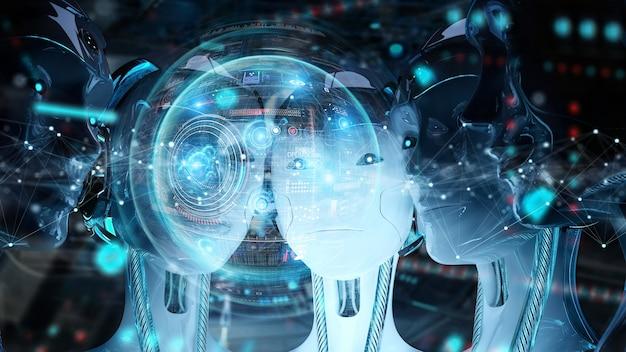 Groupe de têtes de femmes robots utilisant des écrans hologrammes numériques Photo Premium