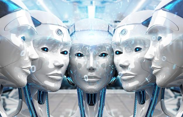 Groupe de têtes de robots femelles créant une connexion numérique Photo Premium