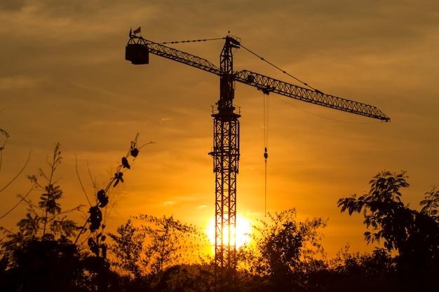 Grue de construction jour avec ciel crépuscule Photo Premium