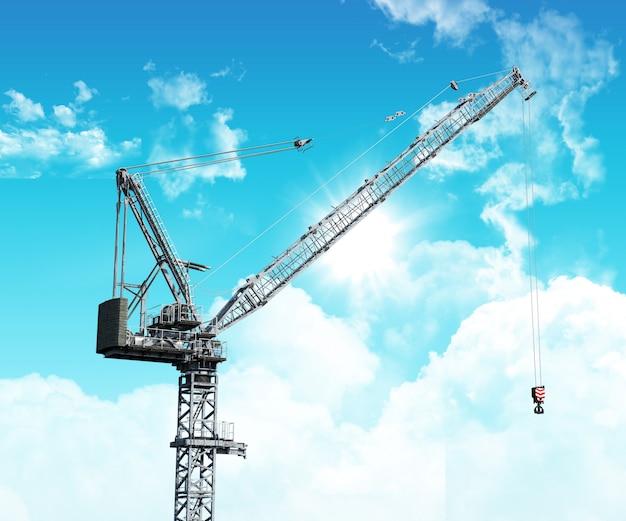 Grue industrielle 3d contre un ciel bleu avec des nuages blancs moelleux Photo gratuit