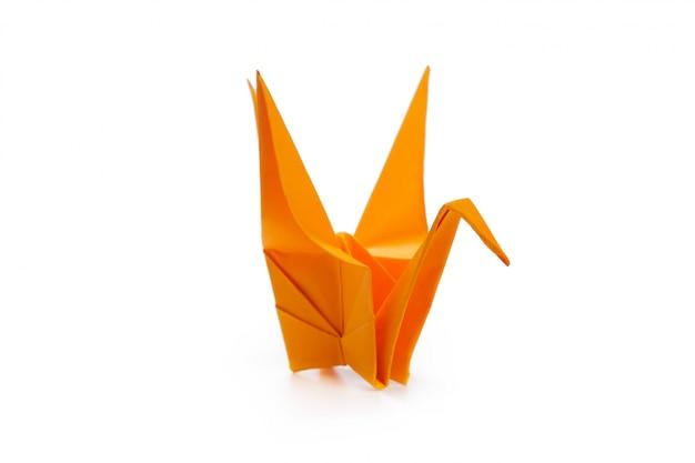 Grue en origami sur blanc Photo Premium