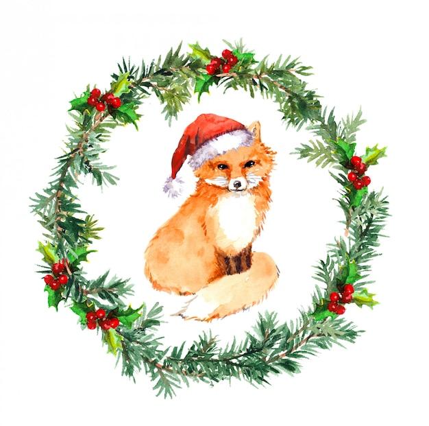 Guirlande De Noël Avec Animal Renard En Bonnet Rouge. Aquarelle Photo Premium
