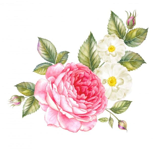 Guirlande de roses rouges aquarelles pour modèle de carte d'invitation Photo Premium