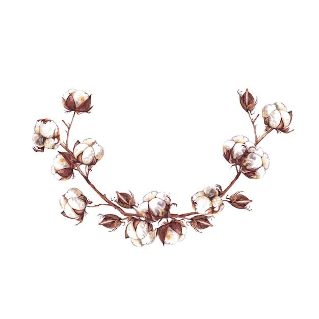 Guirlande Semi-ronde De Branches De Coton, De Boîtes Et De Bourgeons. Peinture à L'aquarelle. Photo Premium