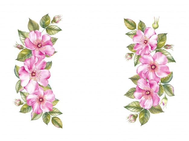 Guirlande vintage de cadre de roses en fleurs Photo Premium
