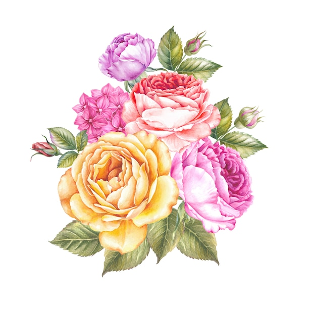 Guirlande vintage de roses en fleurs. Photo Premium