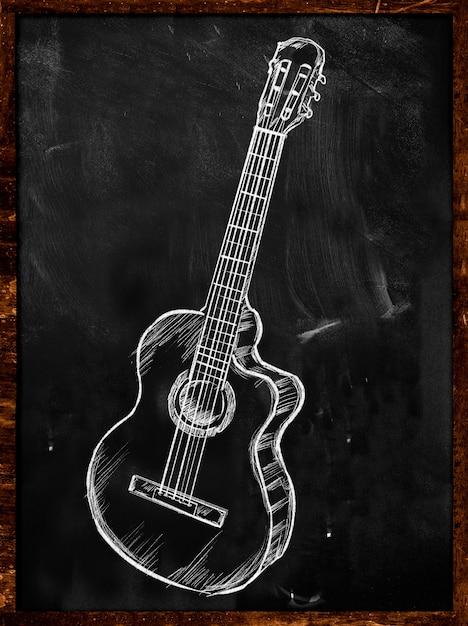 Guitare Classique Acoustique Dessin Sur Tableau Musique Photo gratuit
