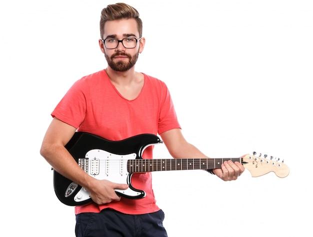 Guy élégant Avec Une Guitare Photo Premium