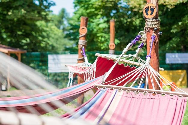 Hamac Suspendu Dans Le Parc D'été Vert Photo Premium