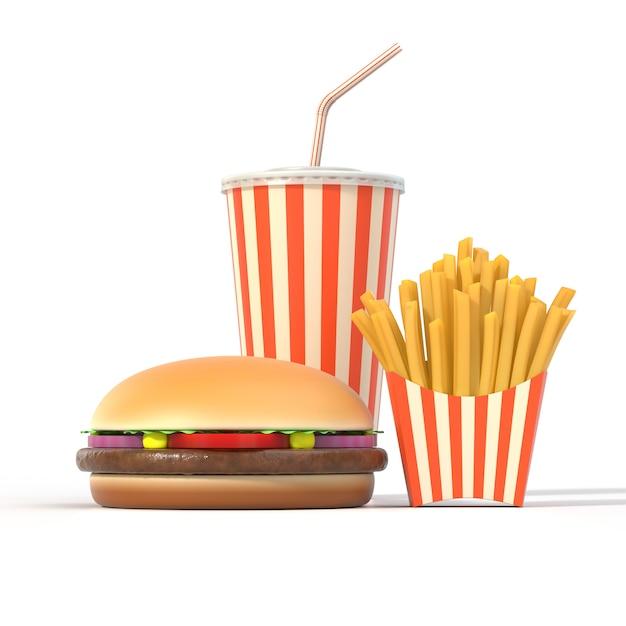 Hamburger, Frites Et Boisson Photo Premium