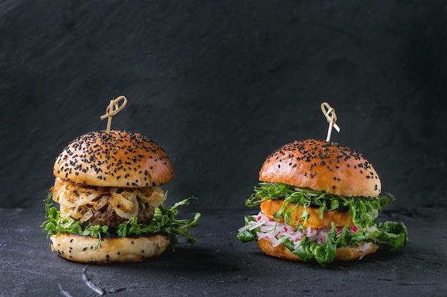 Hamburgers à la viande et aux légumes Photo Premium