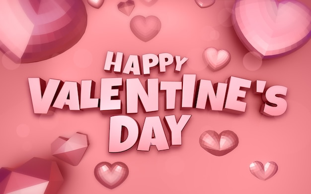 Happy Valentine's Day 3d Illustration Avec Coeur Diamant Et Texte 3d Photo Premium