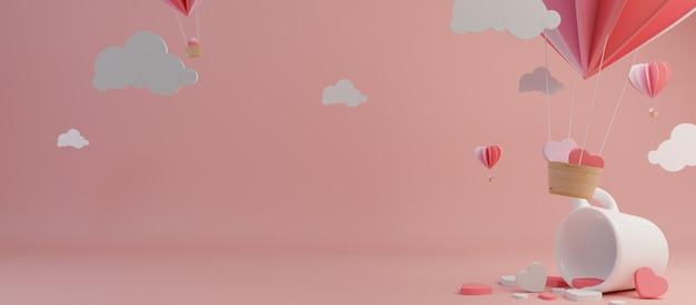 Happy valentines day et élément de design de désherbage. fond rose. rendu 3d Photo Premium