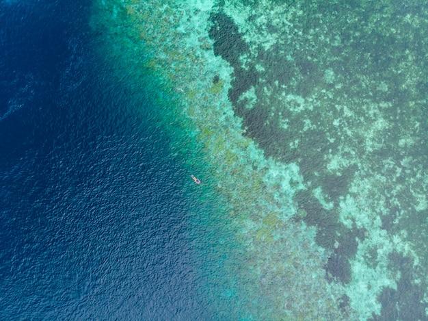 Haut aérien, bas, gens, snorkeling, récif corallien, mer caraïbe tropicale, eau bleu turquoise Photo Premium