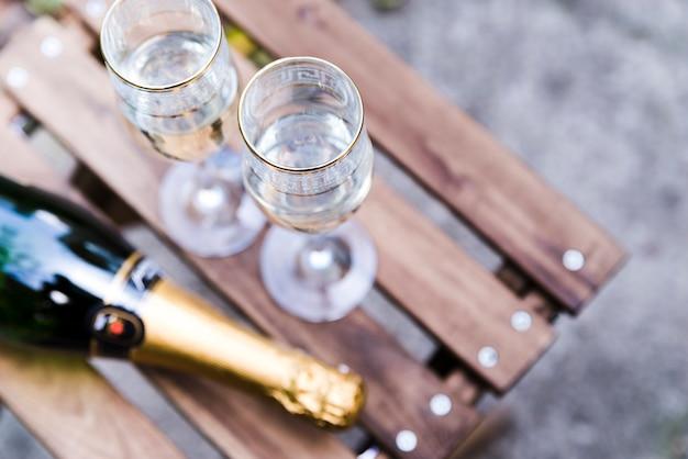 Haute Vue Angle, De, Verre Champagne, Sur, Table Bois Photo gratuit