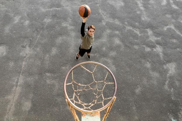 Haute vue, lancer, basket-ball Photo gratuit