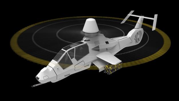 Hélicoptère De L'armée Moderne En Vol Avec Un Ensemble Complet D'armes Sur Une Surface Noire Photo Premium