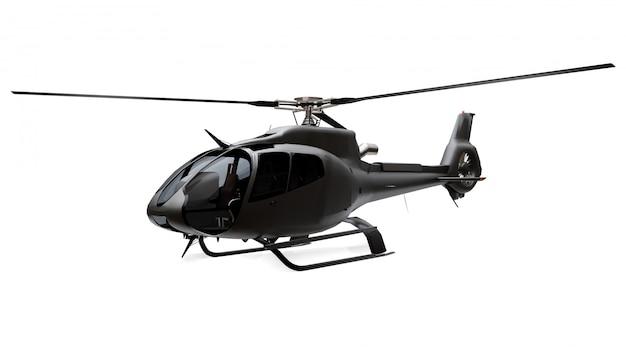 Hélicoptère Noir Isolé Sur L'espace Blanc. Rendu 3d. Photo Premium