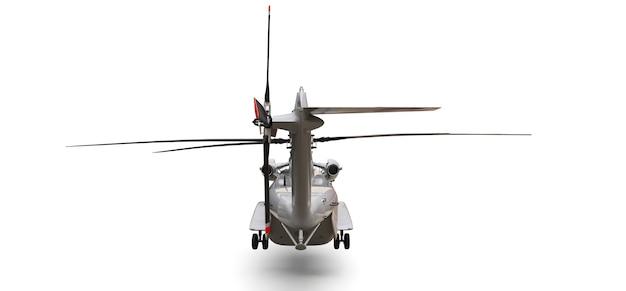 Hélicoptère De Transport Ou De Sauvetage Militaire Sur Fond Blanc. Illustration 3d. Photo Premium