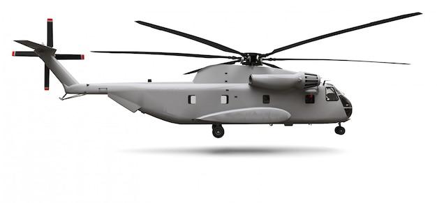 Hélicoptère de transport ou de sauvetage militaire sur fond blanc Photo Premium