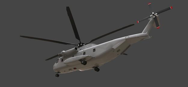 Hélicoptère De Transport Ou De Sauvetage Militaire Sur Fond Gris. Illustration 3d. Photo Premium