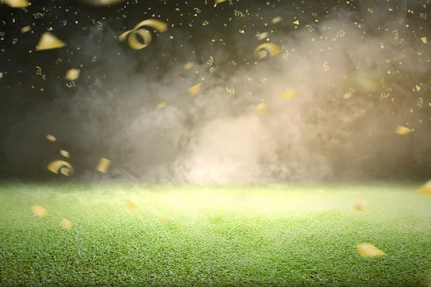 Herbe Verte Avec De La Fumée Et Des Confettis Volants Dorés Photo Premium
