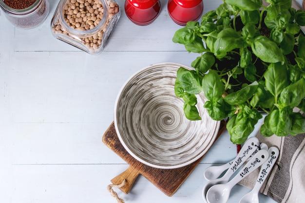 Herbes Et Pois Chiches Photo Premium