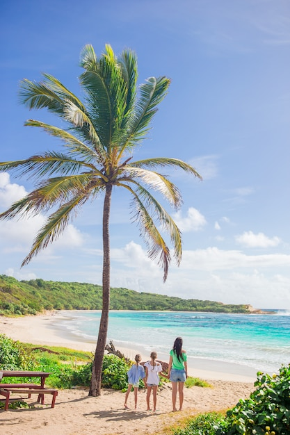 Heureuse Belle Famille En Vacances Plage Tropicale Photo Premium