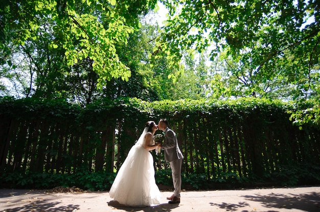 Heureuse mariée et le marié à la promenade de mariage Photo Premium