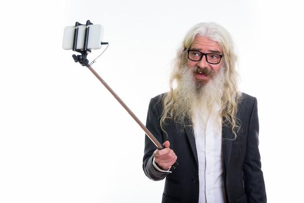 Heureux Homme D'affaires Barbu Senior Souriant Photo Premium