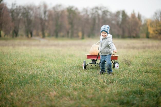 Heureux Petit Garçon Enfant En Bas âge Sur Un Potiron Sur Une Froide Journée D'automne Photo Premium