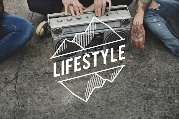 Hipster lifestyle jeunesse culture casual teens Photo Premium