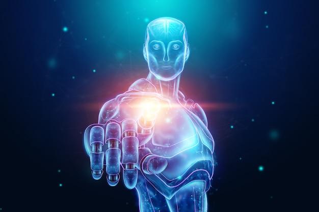 Hologramme bleu d'un robot, cyborg, intelligence artificielle. concept réseaux de neurones, pilote automatique, robotisation, révolution industrielle 4.0. illustration 3d, rendu 3d. Photo Premium