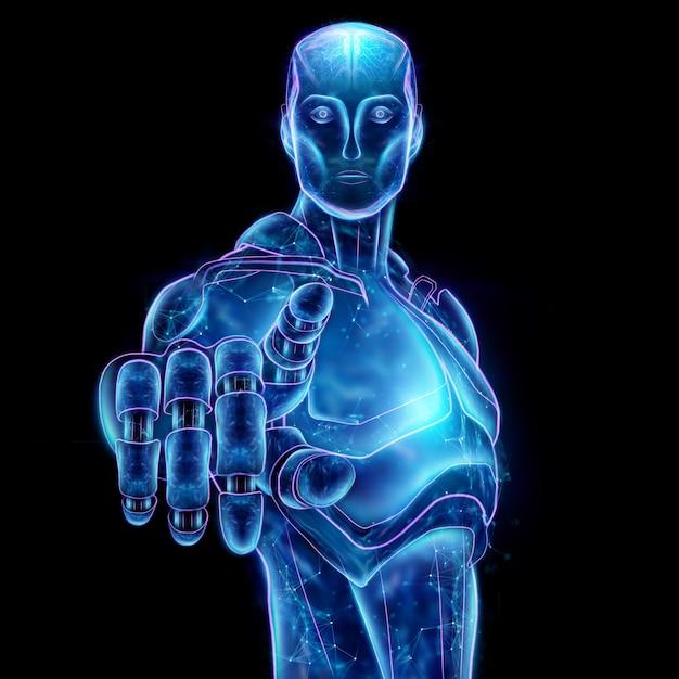 Hologramme bleu d'un robot, intelligence artificielle. concept réseaux de neurones, pilote automatique, robotisation, révolution industrielle 4.0. illustration 3d, rendu 3d. Photo Premium