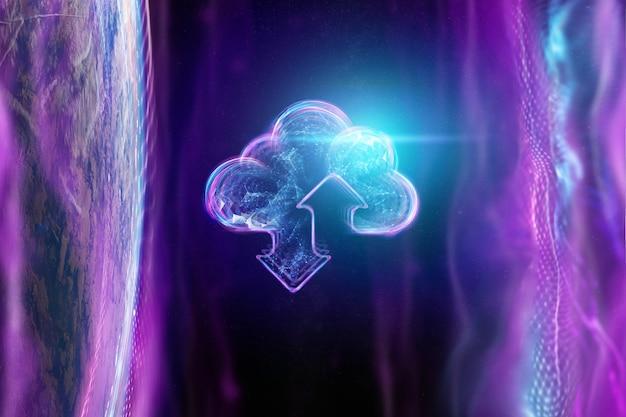 Hologramme d'un nuage sur le fond du globe Photo Premium