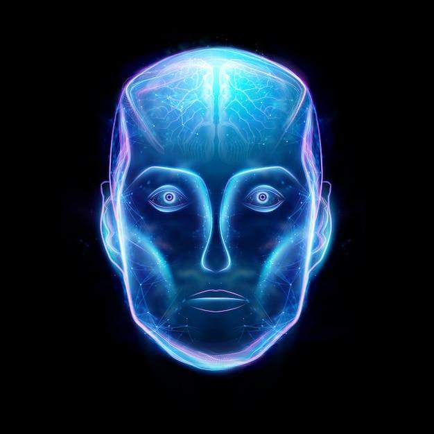 Hologramme d'une tête de robot, intelligence artificielle. concept réseaux de neurones, pilote automatique, robotisation, révolution industrielle 4.0. illustration 3d, rendu 3d. Photo Premium