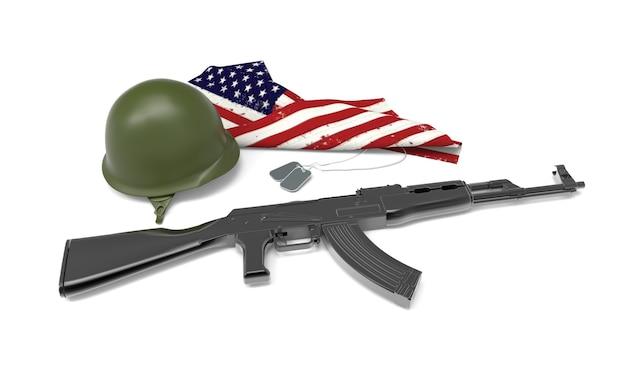 Hommage de soldat tombé, casque, arme à feu, bottes, étiquette de chien et drapeau Photo Premium