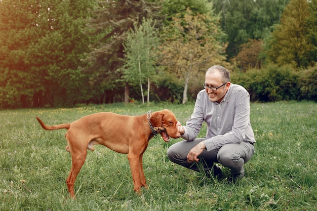Homme adulte dans un parc d'été avec un chien Photo gratuit