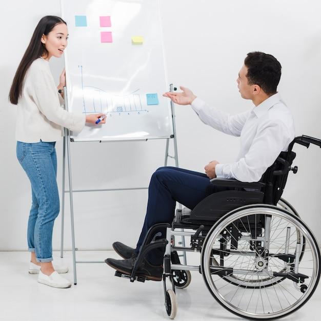 Un homme d'affaires assis sur un fauteuil roulant demandant quelque chose à la jeune femme dessin graphique sur tableau blanc Photo gratuit