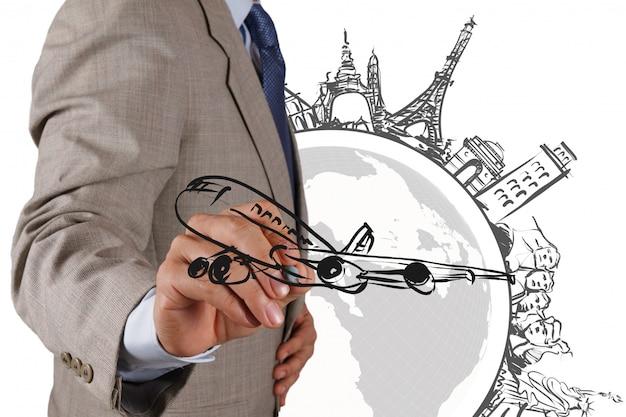 Homme d'affaires attire un voyage de rêve autour du monde Photo Premium