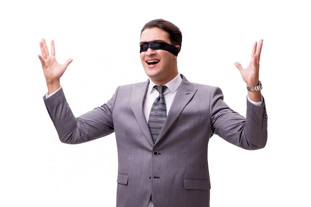 Homme d'affaires aux yeux bandés isolé Photo Premium