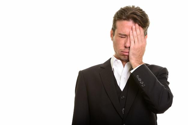 Homme D'affaires Caucasien à La Colère Et Stressé Par L'échec Photo Premium