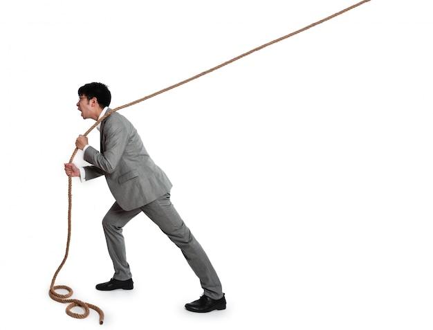 Homme d'affaires avec une corde Photo gratuit