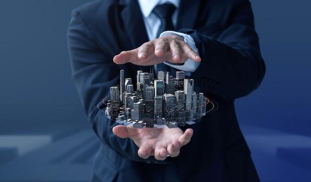Homme d'affaires créer design moderne bâtiment et immobilier Photo Premium