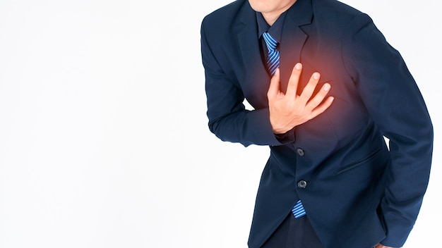 Homme d'affaires crise cardiaque Photo Premium